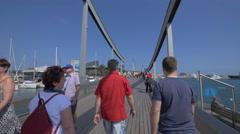 People on Rambla de Mar, Barcelona Stock Footage