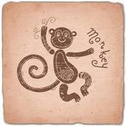 Monkey. Chinese Zodiac Sign Horoscope Vintage Card Stock Illustration