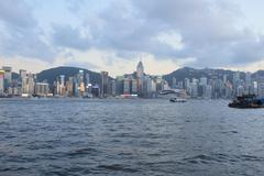 harbour of Hong Kong at daytime - stock photo
