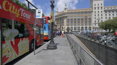 Barcelona City Tour buses parked in Plaza de Catalunya Stock Footage
