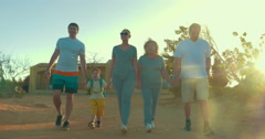 Big family going hiking on vacation Stock Footage