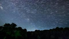 Beautiful Star Trails Milky Way Time-lapse Stock Footage