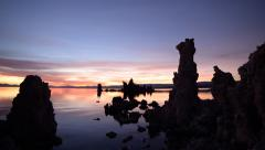 Stock Video Footage of Time Lapse of Twilight Sky at Dawn over Mono Lake -Tilt Down-