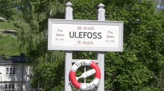 Telemark water canal Norway Ulefos information sign Stock Footage