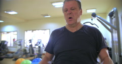 Hard workout with barbell in gym Stock Footage