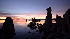 Time Lapse of Twilight Sky at Dawn over Mono Lake -Pan L- Stock Footage