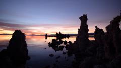Time Lapse of Twilight Sky at Dawn over Mono Lake -Zoom In- Arkistovideo