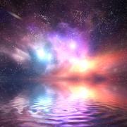 Ocean under galaxy sky. Stars, fantasy, water reflection Stock Photos