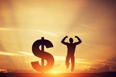 Man jumping for joy next to dollar symbol. Winner of lottery - stock illustration