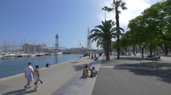 The harbor of Barcelona Stock Footage