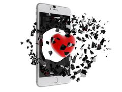 Red heart burst out of the smartphone. Stock Illustration