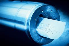 Heavy industry steel cylinder, piston with industrial plans. Kuvituskuvat