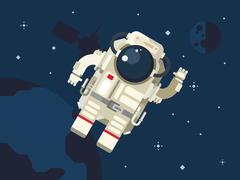 Astronaut in Outer Space - stock illustration