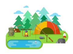 Outdoor Recreation. Fishing Camp - stock illustration