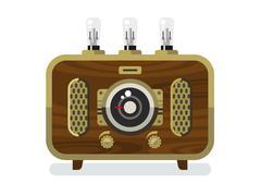 Vintage Radios in Flat Style Stock Illustration