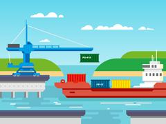 Cargo Freight Shipping by Water Stock Illustration