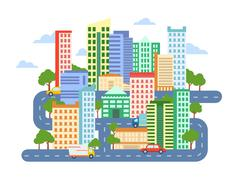 City Landscape with Buildings Cars and Roads Stock Illustration