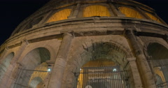 Night view of world famous Colosseum Stock Footage