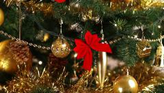 Decorating Christmas tree close-up Stock Footage