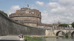 Stock Video Footage of Castel and bridge Sant Angelo at the Tiber