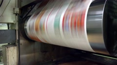 Web set offset print shop newspapers Printint, Newspapers coming off the rota Stock Footage