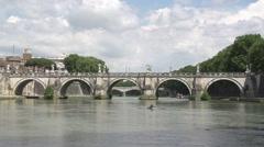 Bridge Sant Angelo at the Tiber Stock Footage