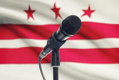 Microphone with US states flags on background series - District of Columbia Stock Photos