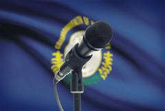 Microphone with US states flags on background series - Kentucky Stock Photos