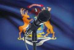 Microphone with US states flags on background series - Michigan - stock photo