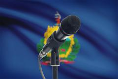 Microphone with US states flags on background series - Vermont Stock Photos