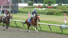 Horse Racing - Jockeys On Track - 01 Stock Footage