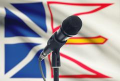 Microphone with Canadian province flag on background series - Newfoundland an - stock photo