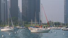 CHICAGO, IL, US - MAY 27, 2006: Many sailboats parking at Monroe Harbor at Mi Stock Photos