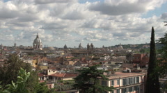 View of Rome from Pincio square Stock Footage