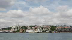 Ortaköy Mosque from a ferry in Istanbul Turkey Stock Footage