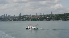 Small verry at the Bosphorus strait in Istanbul Turkey Stock Footage