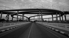 Bhumibol Bridge with cloudy on rainy overcast - stock photo