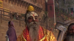 Meditation and wisdom saddhus in Benares in india Stock Footage