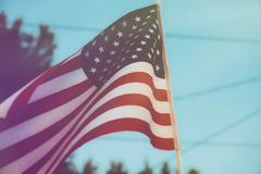 Americana Flag Suburbia Stock Photos