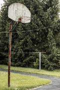 Basketball Hoop Rural Indiana - stock photo