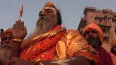 Meditation and wisdom saddhus in Benares in Ganges Stock Footage
