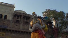 Meditation and wisdom saddhus in Ganges in india Stock Footage