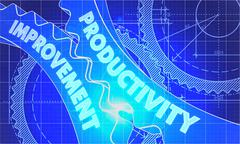 Productivity Improvement Concept. Blueprint of Gears Stock Illustration
