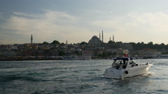 Speedboat at the at the Golden Horn Stock Footage