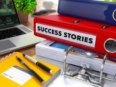 Red Ring Binder with Inscription Success Stories - stock illustration