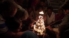 The night celebrate lights on the ghat of Ganges in India 1 - stock footage