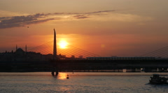 Sunset at the Atatürk Bridge in Istanbul Turkey Stock Footage