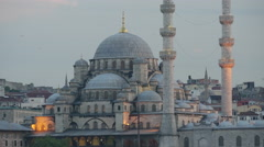 Close up from the New Mosque in the evening Istanbul Turkey Stock Footage