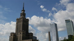 Time lapse from the Palace of Culture and Science in Warsaw Poland Stock Footage