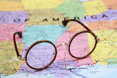Glasses on a map of USA - Louisiana - stock photo